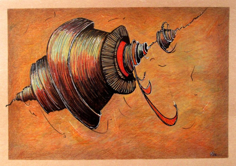 objet accroche sur un fil fond orange mouvement cylindre