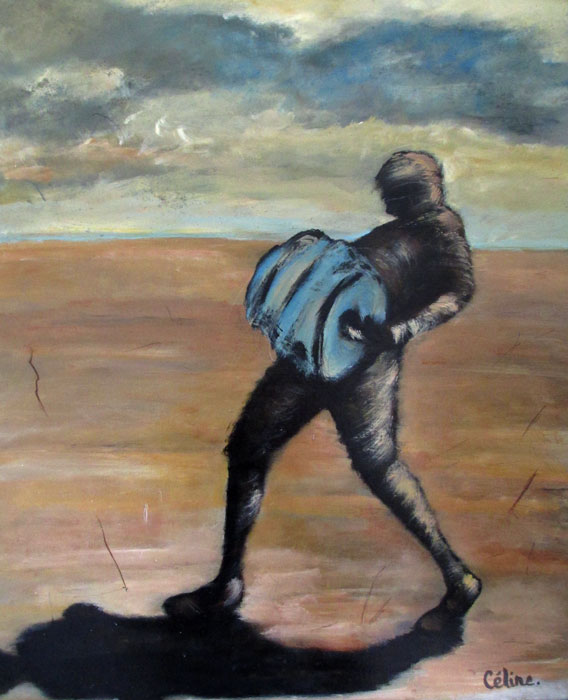 L'homme à la volute I. Acrylique sur toile. 61x50 cm. 2016