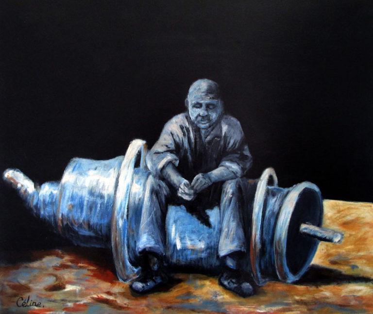 3 L'homme assis. 46x55 cm. Acrylique sur toile. 2017