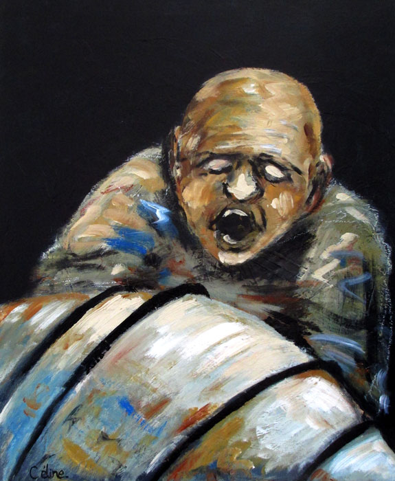 L'homme sur fond noir. Acrylique sur toile. 46x38 cm. 2016