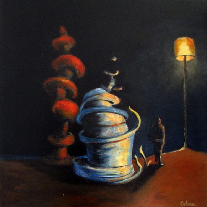Sous le lampadaire. 60x60 cm.Technique mixte sur toile. 2018