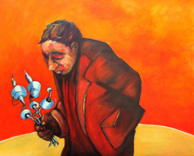 Homme sur fond orange. Acrylique sur toile. 100x80. 2018