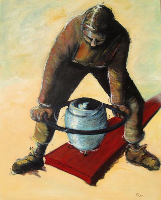 L'homme à la planche. . 91x73 cm. 2019. Technique mixte sur toile