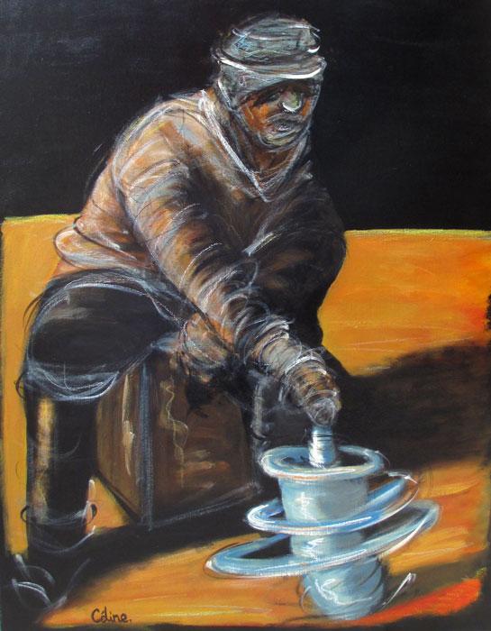 L'homme au turban. . 73x92 cm. Acrylique sur toile. 2017