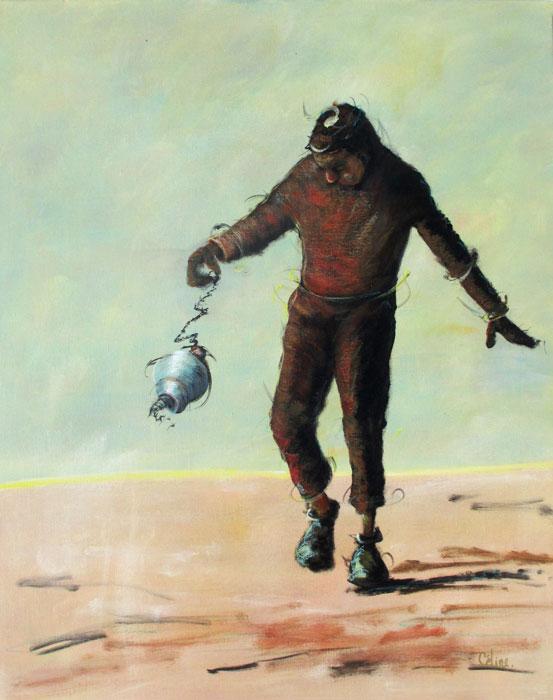 L'homme qui marche. 65x81 cm. 2019. Technique mixte sur toile