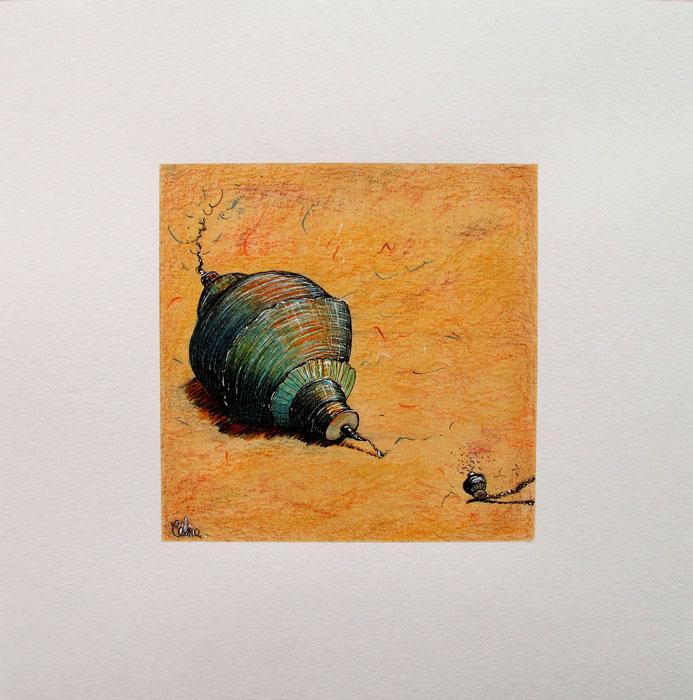 Décroché. dessin de 13x13 cm sur papier de 23x23 cm.2021.